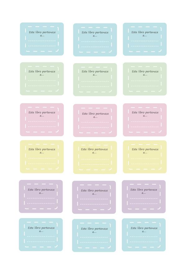 Etiquetas para los libros del cole imprimible descargable mifuku - Etiquetas para el cole ...